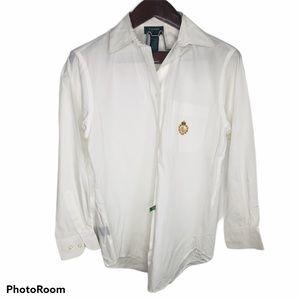 LRL Large Crest Button Up Blouse Top Prep White 4